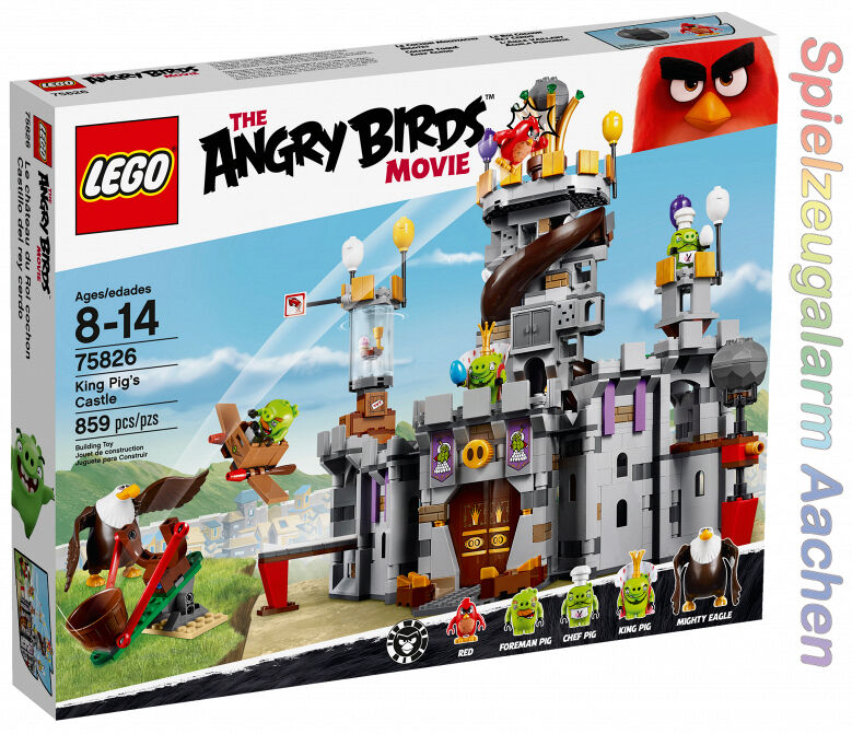 LEGO 75826 Angry Birds King Pigs Castle rosso Mighty Eagle King capo Foreman PIG