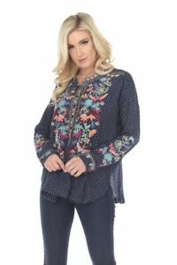 Johnny-Was-Zeeza-Embroidered-Cross-Print-Long-Sleeve-Blouse-Boho-Chic-P16019-NEW