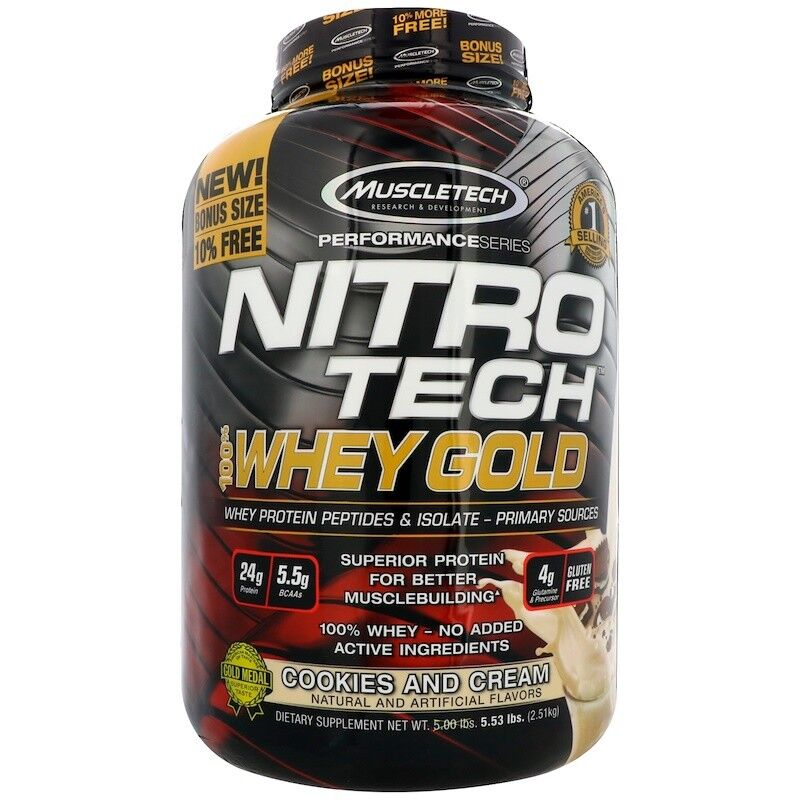Muscletech Nitro Tech 100% Whey Protein Gold COOKIES & CREAM 5.53 lbs / 2.51 kg