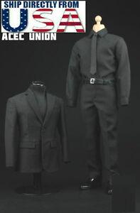 1-6-Men-Business-Suit-Agent-Set-BLACK-For-12-034-Hot-Toys-Phicen-Male-Figure-U-S-A
