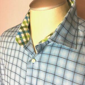 Thomas-Dean-Mens-Shirt-XL-Blue-Flip-Cuffs-Checked-Button-Up-Long-Sleeve