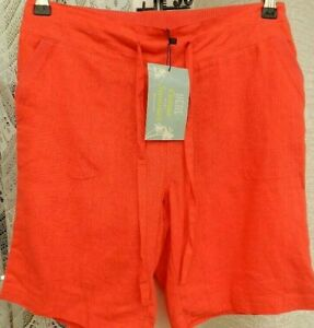 "( Ref 967 ) Tom Franks - Size 10 W 28"" - Ladies Coral Linen Summer Shorts Bnwt"