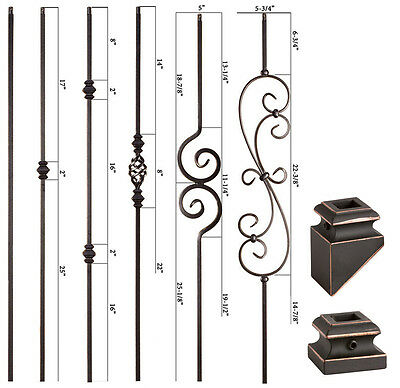 Oil Rubbed Bronze 16.1.35 Double Knuckle Iron Baluster for Staircase Remodel Box of 5