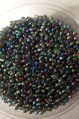 choose size 6//0 8//0 11//0 100g GREY METALLIC RAINBOW glass seed beads 4, 3, 2mm