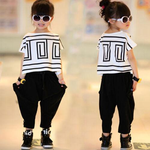 Children Jazz Hip-Hop Dancewear Kids Dance Girls Bat Shirts Sports Costumes