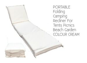 PORTABLE-Folding-Camping-Recliner-For-Tents-Picnics-Beach-Garden-COLOUR-CREAM