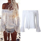 Women Off Shoulder Lace Strapless T-Shirt Summer Beach Casual Loose Tops Blouse