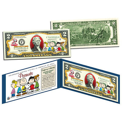PEANUTS *Charlie Brown & Gang* Legal Tender U.S. $2 Bill *OFFICIALLY LICENSED*