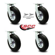 8 Inch Black Pneumatic Wheel Caster Set 4 Swivel With 2 Swivel Locks Scc