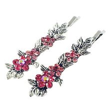 USA Vintage Bobby Pin Rhinestone Crystal Hair Clip Hairpin Jeweled Flower PINK