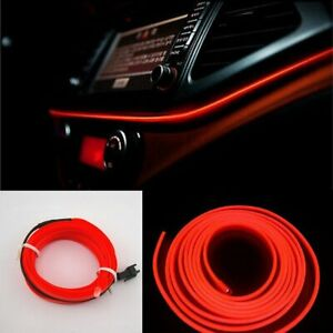 2-M-voiture-rouge-DEL-EL-Fil-Lumiere-froide-Lampe-Neon-Lampe-Interieur-Atmosphere-Decoration-Lumiere