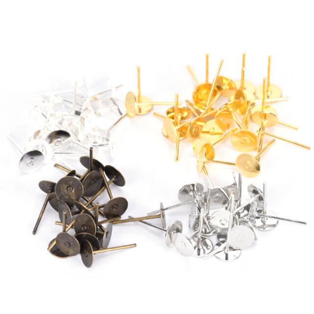 200X 6mm Flat Pad Blank Base Stud Earring DIY Jewelry Making Findings  DSUK