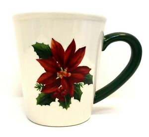 Christmas Poinsettia Coffee Mug Cup Red White Green Large X Ebay