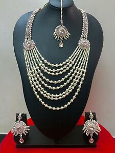 Indian-Designer-Bollywood-Rose-Gold-Plated-Fashion-Jewelry-Necklace-Set