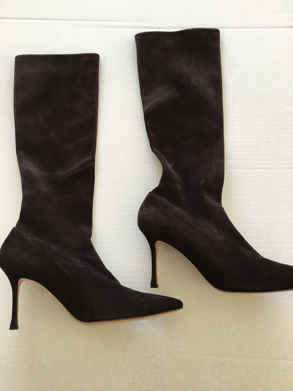 Manolo Blahnik  Brown Suede Boots  Sz 12(42)