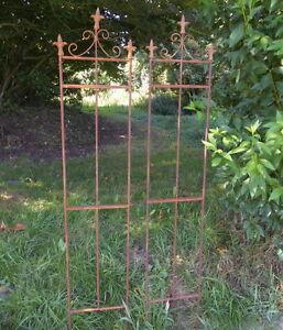 2er Set Zaunelement Rankgitter Fleur De Lis Gartenzaun Rost Antik