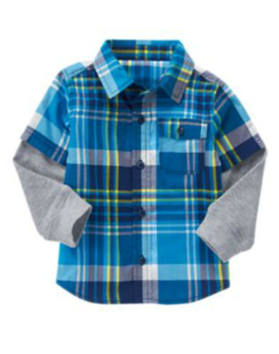 NWT Boy/'s CRAZY 8 D//S Multi-Color Plaid and Gray Button front Shirt Top