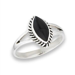 Sterling-Silver-Marquise-Black-Onyx-Ring-Free-Gift-Packaging