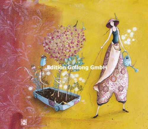 """Gaëlle Boissonard /""""Frau mit Wagen/"""" Doppelkarte Grußkarte Geschenkkarte Blumen"""