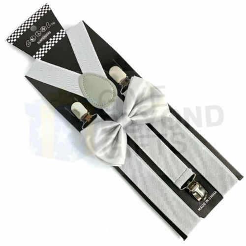 Suspender and Bow Tie Adults Men Silver Set Wedding Formal Wear Accessories