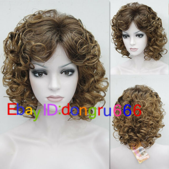 2017 Ladies Women's fashion Curly mixed Brown Natural Hair Wigs + Wig cap