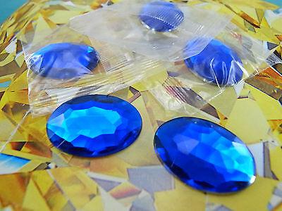 5 pcs NEW Acrylic Flat-back Oval Shaped 18x25mm Blue Color Stone No Hole