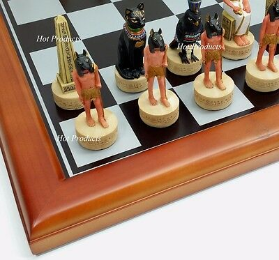 "** NEW *** EGYPTIAN CHESS SET / 16"" CHERRY FINISH W/ BLACK & SILVER BOARD EGYPT"