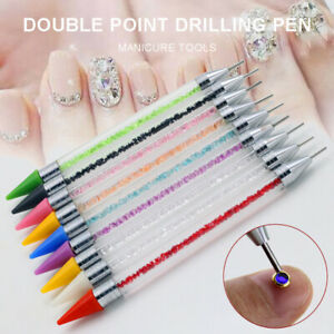 Nail-Art-Dotting-Tool-Pen-for-Gem-Crystal-Rhinestone-Picker-Dot-Manicure-NEW