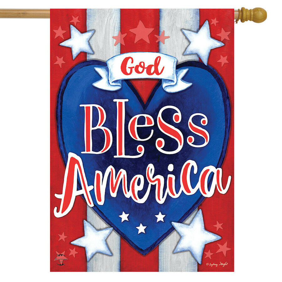 God Bless America Heart Patriotic House Flag Stars Stripes Double Sided 28 X40 For Sale Online