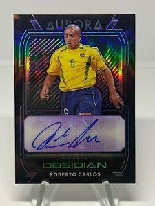 2020-21 Panini Obsidian Roberto Carlos Brazil Purple Aurora Auto Autograph /49