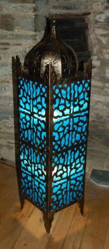 Blue Moroccan Style Square Bronze Metal Floor Lamp Handmade in Bali 100cm Tall