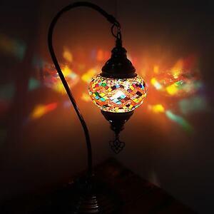 Turkish-Marocain-colore-Lampe-Lumiere-Tiffany-Bureau-En-Verre-GB