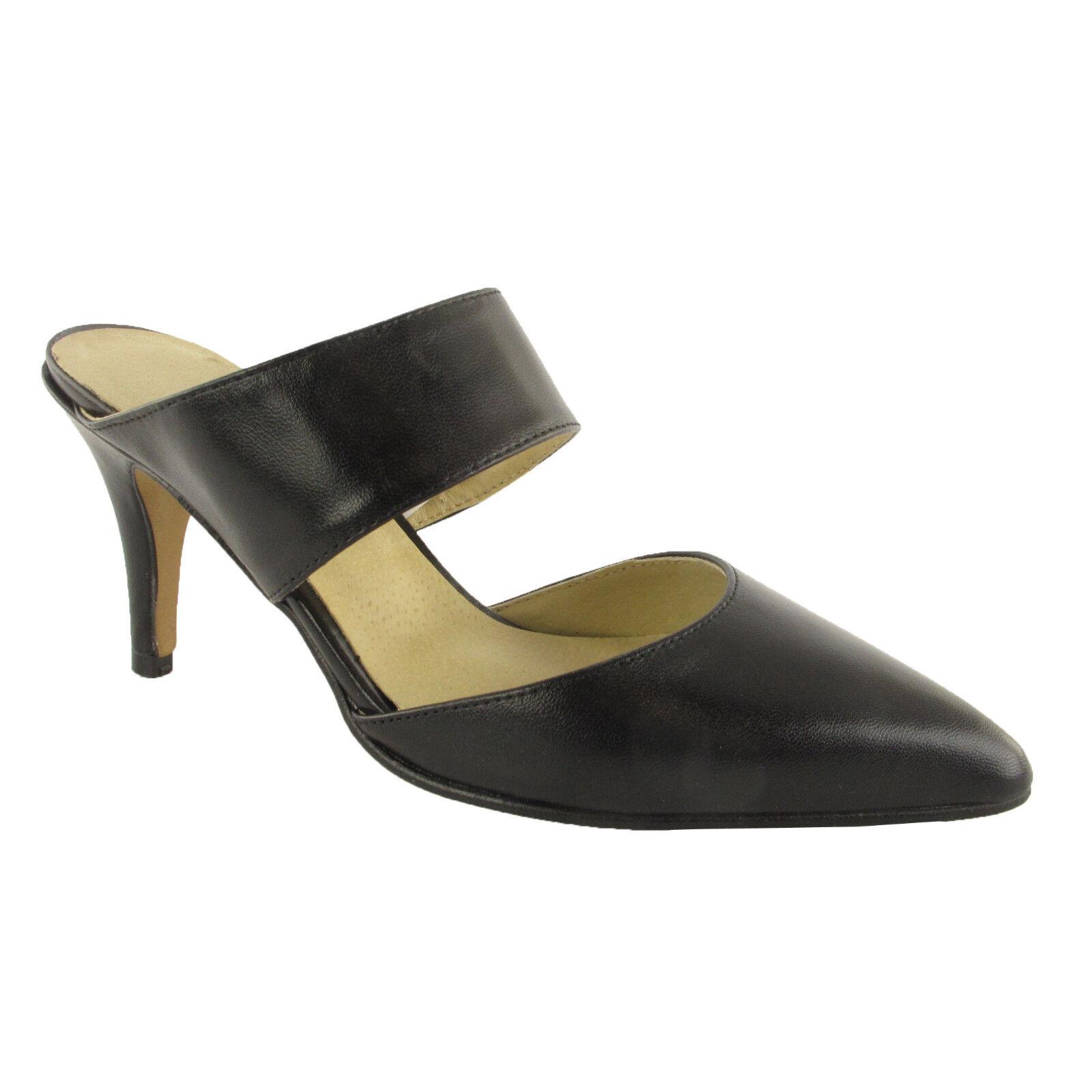 Heine sabot negro nuevo señora zapatos cuero sandalia