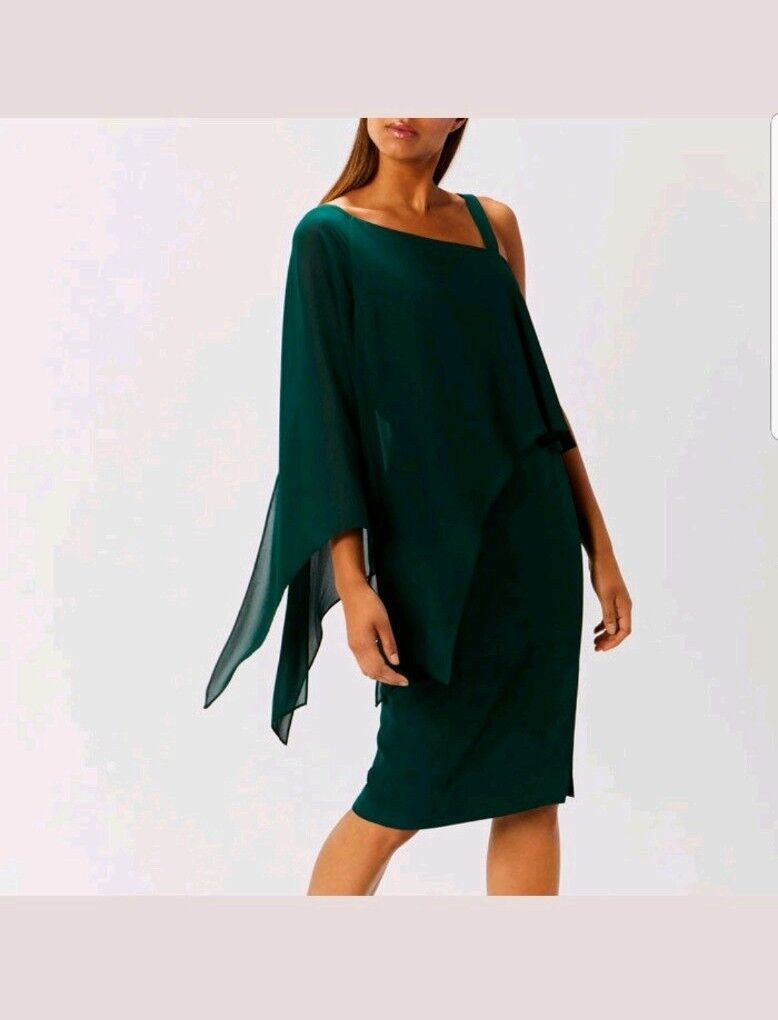 COAST RAE DRAPE ONE SHOULDER GREEN FOREST DRESS SIZE 8 WEEDING CHRISTMAS NEW