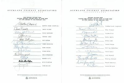 New Zealand and England Cricket 1992 Test Signed Team Sheets  AFTAL/UACC RD