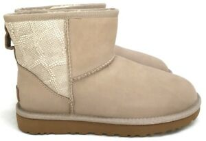 d1a918ec904 Details about Ugg Women's Classic Mini Ceramic Snake-Embossed Panel  Sheepskin Lining Boots