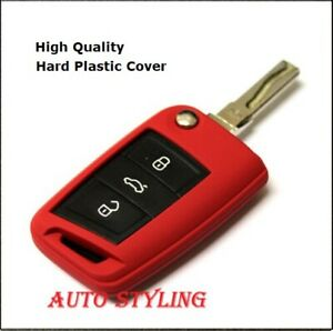 Red Key Cover For Skoda Octavia 3 III MK3 Case Remote Fob Protector Skin RS 40r