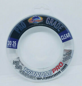 Tsunami Pro Grade 40 lb Clear 100/% Fluorocarbon Fishing Leader 25 yds
