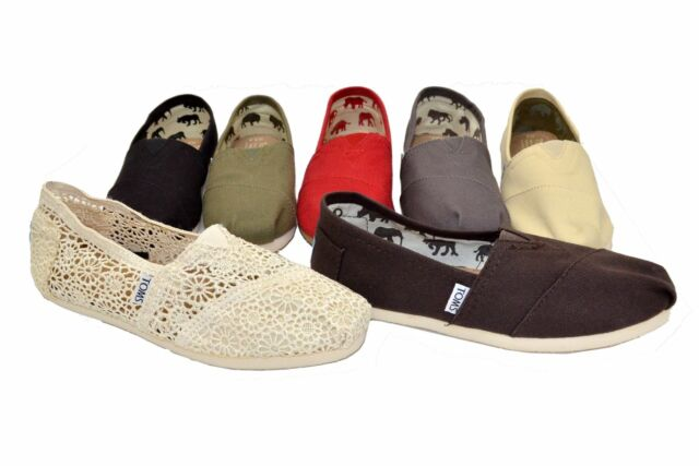 Original Toms Women's Classic Canvas Flat Shoes Black, Red, Navy, Gray Authentic