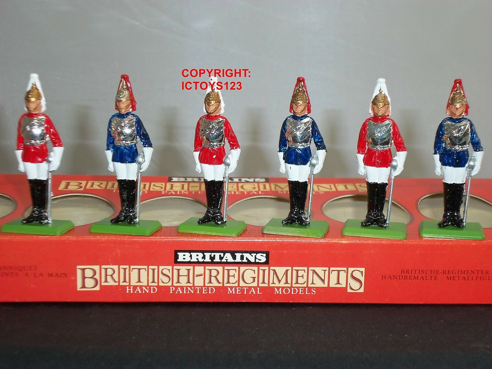 BRITAINS 7227 3 BRITISH HORSEGUARDS + 3 LIFEGUARDS METAL TOY SOLDIER FIGURE SET
