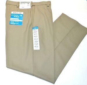 Men's Haggar Classic Fit No Iron Cool 18 Pro Flat Front Beige/Tan Pants