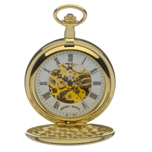 Mount-Royal-Gold-Plated-Double-Hunter-Pocket-Watch-Mechanical-ref-B27