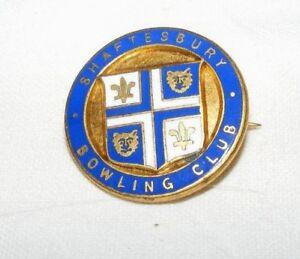 VINTAGE-ENAMEL-SHAFTESBURY-BOWLING-CLUB-BROOCH-BADGE-PIN