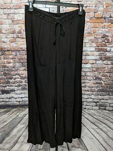 XCVI-Rayon-Black-Wide-Leg-Tie-Stretch-Palazzo-Waist-Pants-Size-L-NEW
