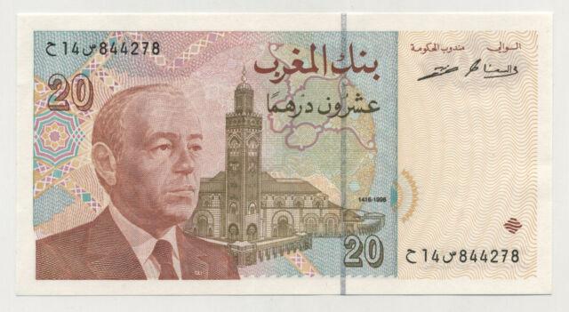 Morocco 20 Dirhams 1996/AH1416 Pick 67 UNC Uncirculated Banknote