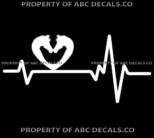 VRS Heart Beat Line HORSE Equine Equestrian LOVE Stable Trailer CAR VINYL DECAL