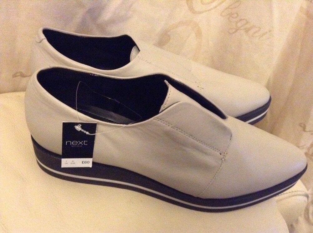 New ️Next Signature ️ Taille 7 (41 EU) Light gris LEATHER FLATFORM chaussures