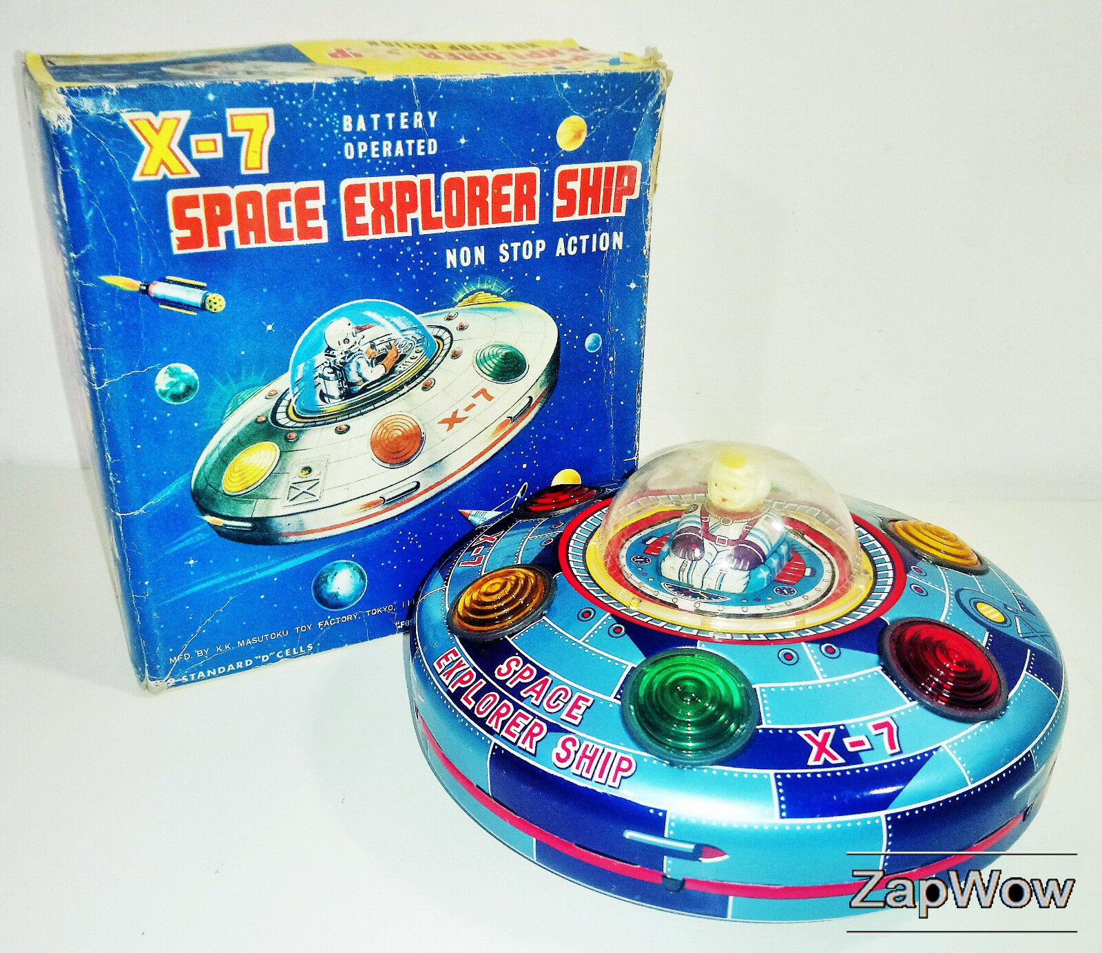 X-7 SPACE EXPLORER SHIP 1950s MASUDAYA Modern Toys Vintage Working Tin Toy Japan