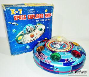 X-7-SPACE-EXPLORER-SHIP-1950s-MASUDAYA-Modern-Toys-Vintage-Working-Tin-Toy-Japan