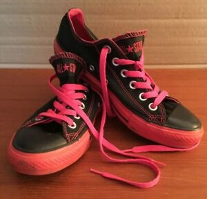 info for af64c 05354 Details about CONVERSE ALL STAR RARE W 7 / M 5 Shoes LOW TOPS Canvas BLACK  RED SOLE Lace up